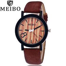 Women Men Vintage Wooden Leather Band Quartz Watch Analog Casual Wristwatch New