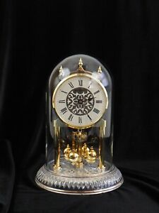 Howard Miller Anniversary Clock Lead Crystal Base Glass Dome W Germany Works /c