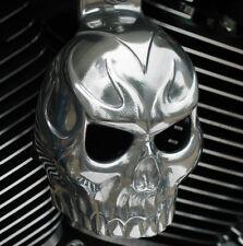 Polished aluminum Evil Twin skull horn cover.  Harley Davidson. SKU-TA3