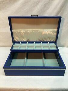 VTG 1950s Accordian Style Folding Jewelry Box sewing box stash box Blue