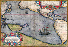 Antique Old Map of the Pacific, Vintage, 1589, Fade Resistant HD Print or Canvas