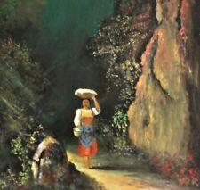 W.R Monogramm TOP-Gemälde: FRAU IN TRACHT MIT KORB GEHT DEN WEG AN DER FELSWAND