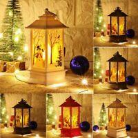 Christmas LED Light Up Lantern Xmas Santa Claus Elk Table Lamp Ornament