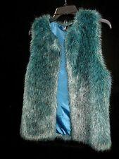 Bisou Bisou Teal Faux Fur Luxurious Super Soft Vest Sz XS  Euc!