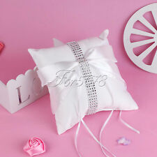 New 20cm White Wedding Ring Pillow Bearer with Rhinestone Ribbon Bow Party Decor