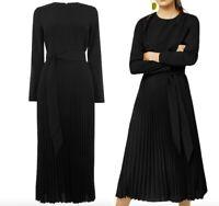 WAREHOUSE Black Pleated Midi  Dress Sizes  8-10-12-14