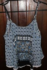 REFUGE - Ladies size large blue geometric swing crop top BNWT RRP $29.95.