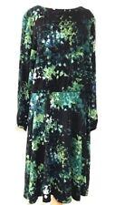 London Times Plus 24W Career Shift Sheath Knit Stretch Maxi Flare Dress Green
