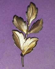BOND BOYD stamped Sterling silver Leaf BROOCH with gold tone to front 3""