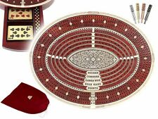 Oval Shape 4 Tracks Continuous Cribbage Board Maple/Bloodwood + Skunks & Corners