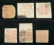 GB EARLY NEWSPAPER STAMPS 1d ILLUSTRATED LONDON NEWS...6 VARIOUS