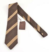 Paolo Albizzati NWT Neck Tie In Brown & Gold Stripes 100% Silk