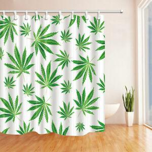 Tropical Green Marijuana Leaf Decor White Waterproof Shower Curtain Rug &12 Hook