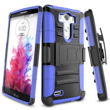 Heavy Hybrid Impact Rugged Rubber Shockproof Hard Armor Case Cover for LG G5 Blue