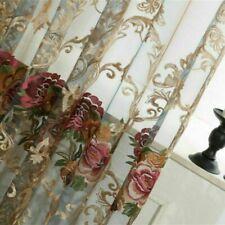 DIY Embroidery Curtain Fabric Pelmets Lace Voile Window Panel Drape Floral Decor