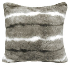 "Luxury Grey White Faux Fur Suede Supersoft Cushion Cover 17"" - 43cm"