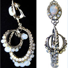 John Galliano Christian Dior Blue Billowing Glass Opal Moonstone Drop Earrings