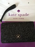 NWT KATE SPADE ODETTE Glitter Small Multifunctional Wristlet Wallet Black