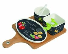 EasyLife Appetizer Set On Bamboo Tray - Contemporary Italian Design