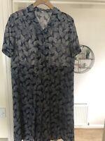 Vintage Navy Chiffon Leaf Print Short Sleeve Shirt Dress oversized VGC size 12