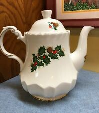 Queen's Bone China England Rosina Yuletide Teapot Christmas Holly Pine Cones