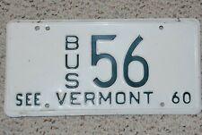 Vermont  License Plate 1960 Bus #56