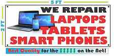 Full Color WE REPAIR TABLETS, SMART PHONES, COMPUTERS Banner Sign 2x5
