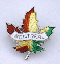 Maple Enamel Montreal Leaf Pure Solid 925 Sterling Silver Pin Brooche VINTAGE