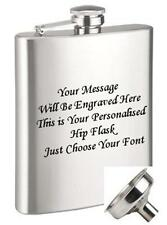 ENGRAVED STEEL HIP FLASK 9oz (266ml) + FREE FUNNEL