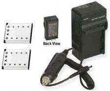 Two 2 D-LI63 D-L163 Batteries + Charger for Pentax M30 M40 T30 W30