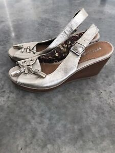 Sperry Top-Sider Gold Leather Tassle Sandals Wedges Slingback Shoes 8.5 M