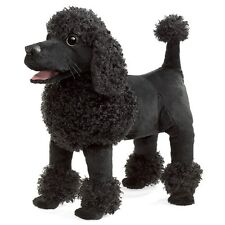 New Poodle Dog Hand Puppet Plush Black Stuffed Puppy Animal Folkmanis Puppets