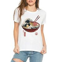 Women's T-Shirts The Great Ramen off Kanagawa Funny Ringer Short Sleeve Top Tee