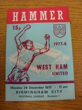 26/12/1977 West Ham United v Birmingham City  . Thanks for taking the time to vi