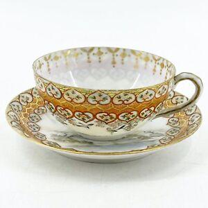 Antique Japanese Kutani Eggshell Hand Painted Tea Cup & Saucer 8 Character Mark