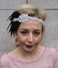 Black Silver Pearl Feather Headpiece 1920 S Headband Great Gatsby Flapper 4981