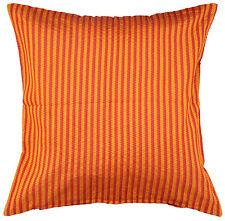 Ethnic Orange 16'' Pillow Cushion Cover Silk Striped Sofa Throw Indian Decor