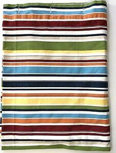 Pottery Barn Shower Curtain 72x72 Horizontal Striped Green Blue Orange Yellow