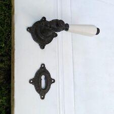 Türdrücker-Garnitur für Zylinderschloss mit Porzellan, wie Antike Beschläge