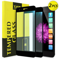 [2-Pack]TJS For LG Fortune 2 Full Coverage Black Tempered Glass Screen Protector