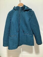 Womens Country Casuals Size 20 Teal Quilted Zip Up Hooded Coat with Pockets