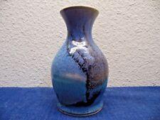 Roman Dana Hubbell Signed Vase Hawaii 1989 Handmade Pottery Blue