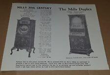 MILLS NOVELTY UPRIGHT 20TH CENTURY Slot Machine Advertising