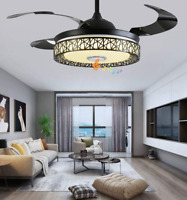 """42"""" Invisible Bluetooth Music Player Ceiling Fan Light Black LED Chandelier"""