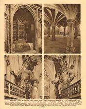 Guildhall Great Hall masonry pre-1666. Gog & Magog 1926 old vintage print