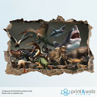 Dinosaur and Shark Wall Smash Decal Sticker 3D Bedroom Vinyl Mural Art