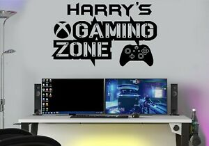 Gaming Zone Personalised Wall Stickers X One Controller Game Zone Decals Kids