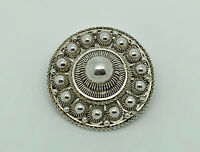 Gorgeous Antique Sterling Silver Cantinelle Domed Filigree Round Brooch