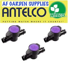 3 x Purple Back Inline Valve/tap for 13mm Irrigation Pipe Garden Watering