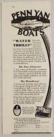 1929 Print Ad Penn Yan Aristocrat & Marathoner Boats Water Thrills Penn Yan,NY